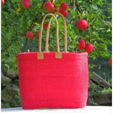 217 Basket XGM  Woven sisal. Leather handles