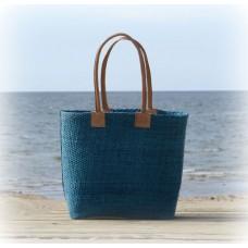 2171 Basket GM  Woven sisal. Leather handles