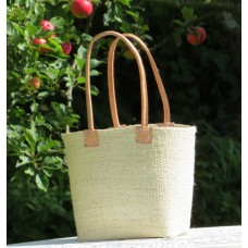 2172 Basket MM  Woven sisal. Leather handles