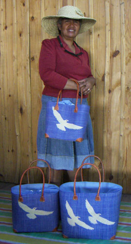 artisan and designer with her bags